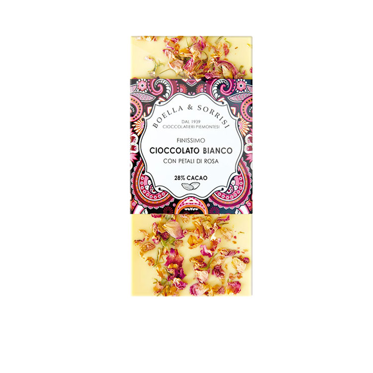 Cioccolato bianco con petali di Rosa 100g