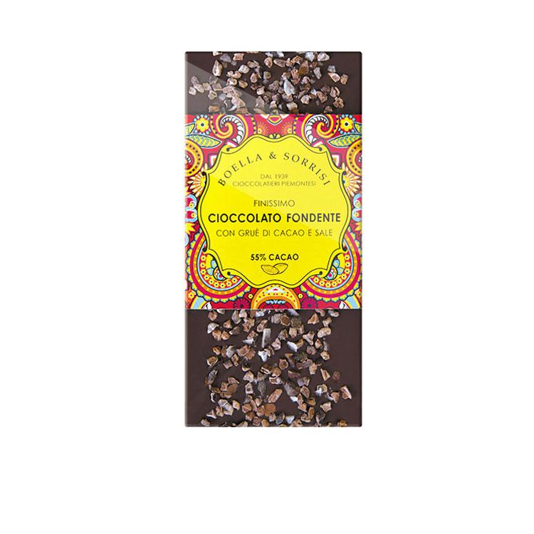 Cioccolato fondente con grue di cacao e sale 100g